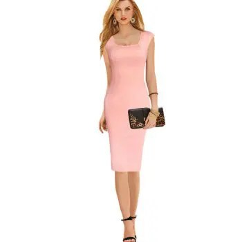 Womens Dress Square Neck Sleeveless Solid Sheath Dress