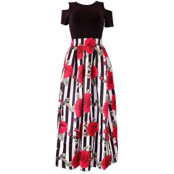 Retro Rose Women Floral Print High Waist Dress Skater Flared Pleated Swing Long Dress