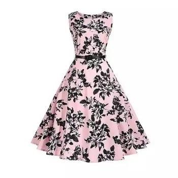 2018 Cotton Women S Dress Rose Retro Dress