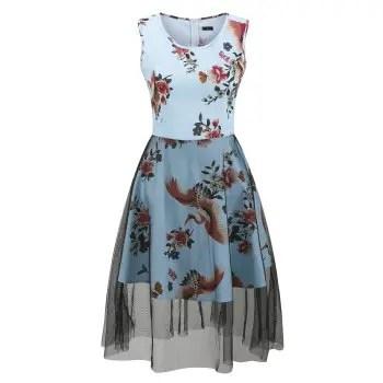 Summer Dress Women Floral Print Cotton Hepburn 50s Vintage Dress Sleeveless 2018 Party Dresses Sundress