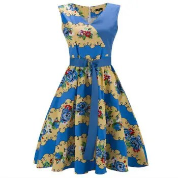 2018 Cotton Sleeveless Summer Dress Women Flamingo Print Audrey Hepburn Vintage Dress Belt Dresses