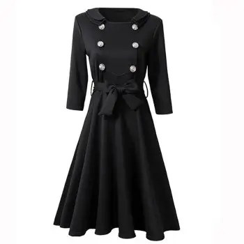 Double Collar Metal Buckle Large Pendulum Dress of Good Quality Lace Dress