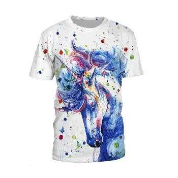 3D Colorful Ink Unicorn T Shirt for Women