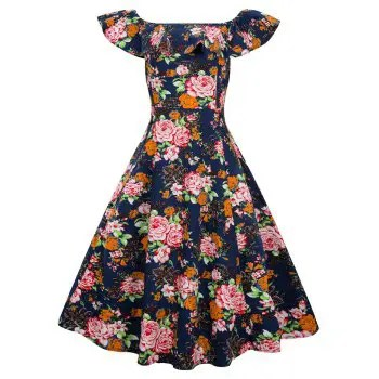 Women s Vintage Dress Floral Print Off The Shoulder Dress