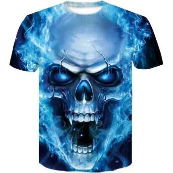 Men s Printed Skull Blue Eyes T Shirts
