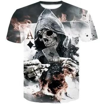 Men s Short Sleeve Printed 3D Poker Shirt