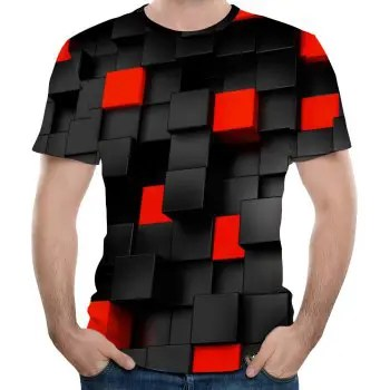 New Fashion Concave and Convex Lattice 3D Printed Men s Short Sleeve T shirt