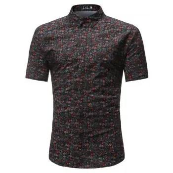 Summer New Men s Casual Short Sleeved Floret Shirts