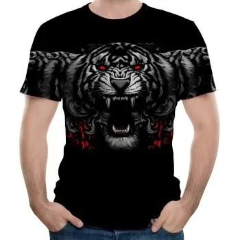 New Fashion Three Leopard 3D Print Men s Short Sleeve T shirt