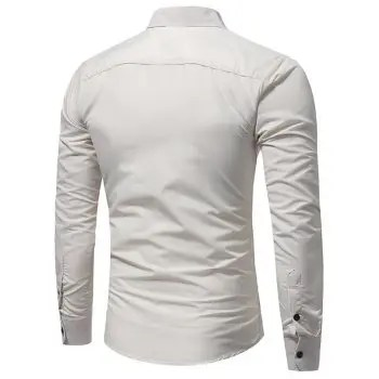 New Classic Double Sack Double Cover Men s Casual Slim Long Sleeve Shirt