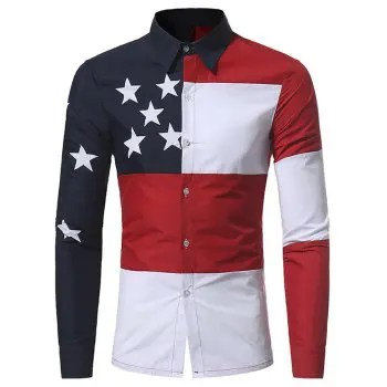 New Casual Color Mixed Five Pointed Star Printing Men s Slim Long Sleeved Shirt