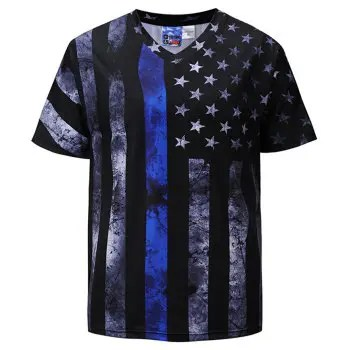 Men s Casual 3D Print American Flag Short Sleeves T shirt
