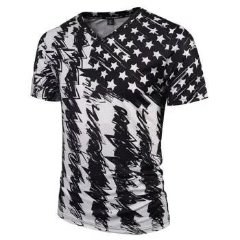 Men s Casual 3D Print Star Short Sleeves T shirt