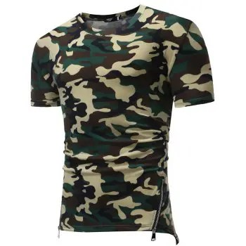 Men s Fashion Camouflage Short Sleeve Personality Small V neck T Shirt