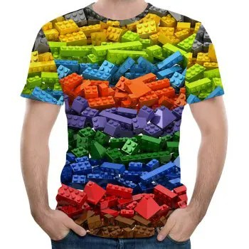 2018 New Fashion Casual Large Size Blocks 3D Printing Short T Shirt