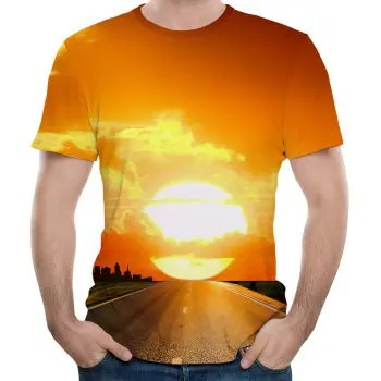 Stylish New Morning Sun 3D Printed Men s  Short Sleeve T shirt