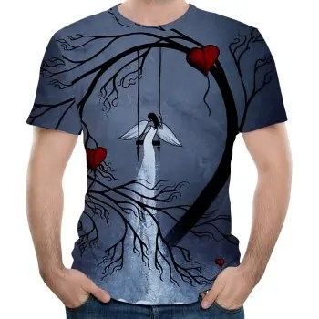 Casual Fashion New Swing 3D Men s Short Sleeve T shirt