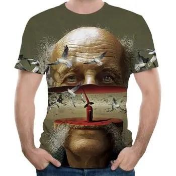 Summer Fashion New Fracture Bald 3D Print Men s Short Sleeve T shirt