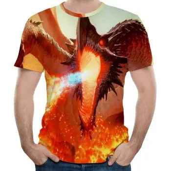 Summer New 3D Men s Short Sleeve  with Fire Winged Dragon  T shirt
