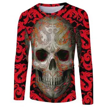2018 Spring Autumn Fashion Strange Skull 3D Printed Long T Shirt