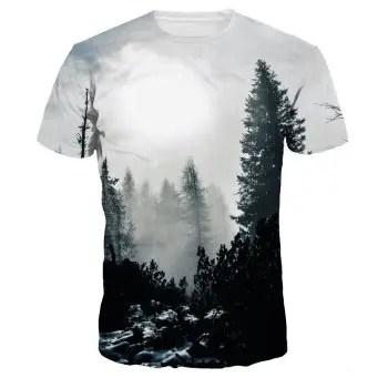 Scenery 3D Digital Printing Casual Short Sleeve T shirt