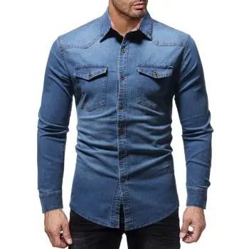 Men s Casual Plaid lined Denim Long sleeved Shirt Slim