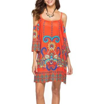 Women s Fashion Print Half Sleeve Spaghetti Strap Beach Casual Mini Dress