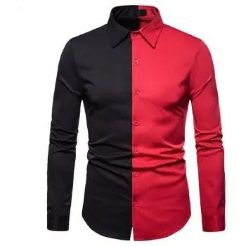 Men s Color Matching Lapel Large Size Long Sleeve Shirt