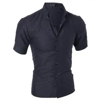 Fashion Plaid Men s Slim Short Sleeve Shirt
