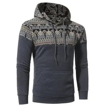 Men s Stitching Casual Slim Hooded Sweater Coat