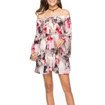 Women s Slash Neck Fashion Print Elastic Waist Flare Sleeve Above Knee Dress