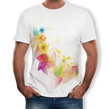 3D Fashion Casual Flower Men s Short Sleeve T shirt