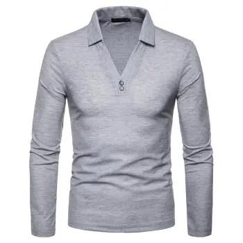 Men s Large Size V Neck Design Lapel Long Sleeve T Shirt
