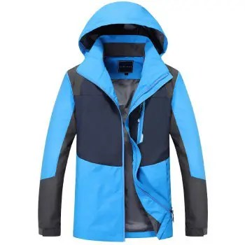 Couple Trench Coat Stylish Patchwork Colorblock Water resistant Hooded Climbing
