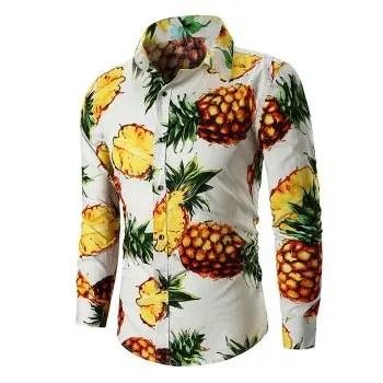 Men s  Long Sleeve Large Size Pineapple National Wind Cotton Shirt