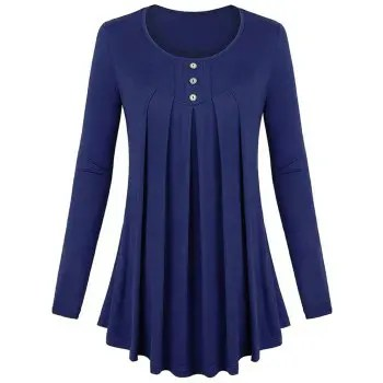 Women s Solid Color Round Neck Long Sleeve Buttons Wrinkle Pullover T shirt