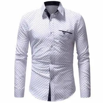 Men s Classic Pentagram Print Casual Slim Long Sleeve Shirt