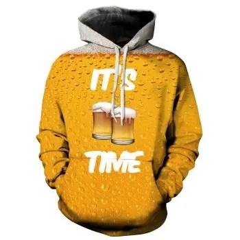 Winter Men s Digital Print Long Sleeve Cheers Beer Sweatshirt