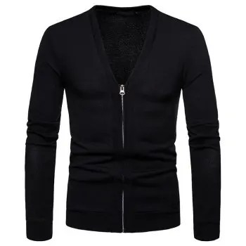Men s Fashion Large Size Zipper Knit Cardigan