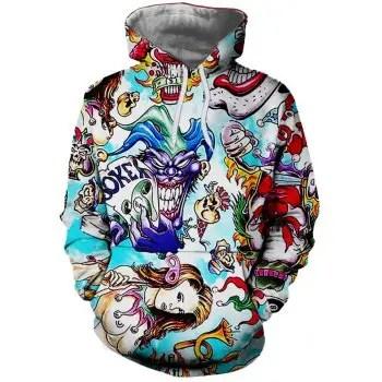 Clown Pattern Print Fashion Men s Hoodie Sweater
