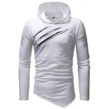 Men s Fashion Casual Slim Chest Scratches Hooded Long Sleeved T shirt
