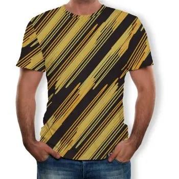 3D Summer Fashion Diagonal Stripe Print Mens Short Sleeve T shirt