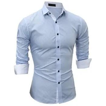 Classic Lined Dark Plaid Men s Casual Long Sleeve Shirt