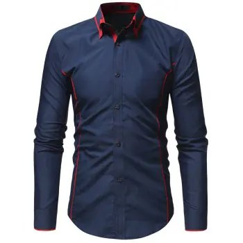 Fashion Hit Color Double Collar Men s Casual Long sleeved Shirt Slim
