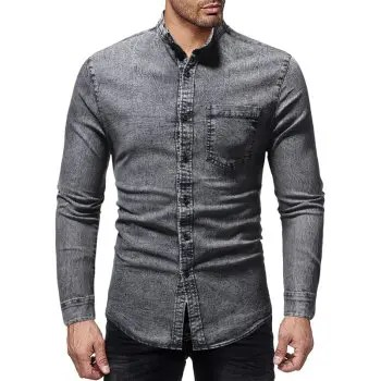 Men s Casual Slim Stand Collar Long Sleeve Washed Denim Shirt