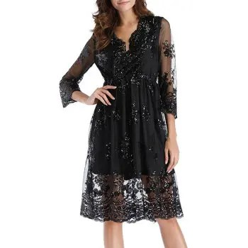 Women s Deep V Sexy Party Sequins with Mesh Mid Sleeve Swing Dress