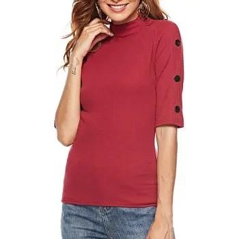 Women s T Shirt Half Sleeve Turtle Neck Solid Color Rivets Top