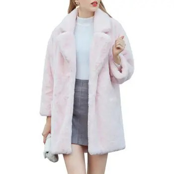 Women s Synthetic Pink Fur Coat Solid Color Notched Collar Outerwear
