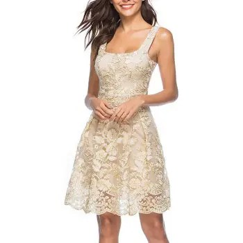 Women s Sexy Strap Embroidery Floral Party Club Sleeveless Dress