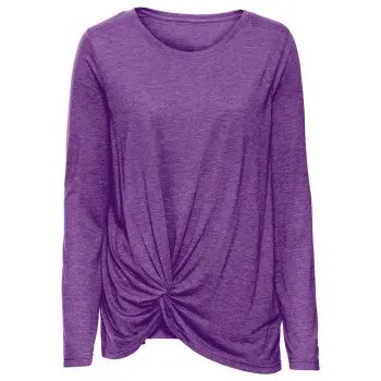 Women s Round Neck Casual Solid Color Long Sleeve Fold Irregular Loose T shirt